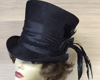 Top Hat Straw Top Hat Men Top Hat Victorian Top Hat Mad Hatter Steampunk Alice in wonderland Women Top Hat