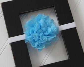 Turquoise Chiffon Lace Headband- Newborn Baby Child- Photo Prop - Boutique Bow Headband