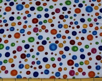 Fat Quarter the Sweetest Bright Colorful Buttons Fabric