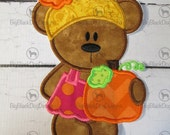 Fall or Autumn Bear with Pumpkin - Iron On Embroidered Applique