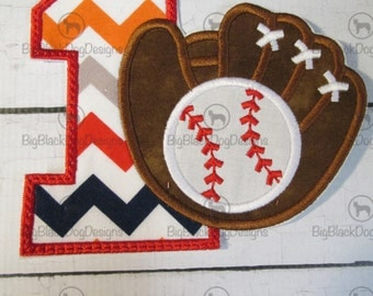 Baseball Glove Birthday Set - Iron On or Sew On Embroidered Applique