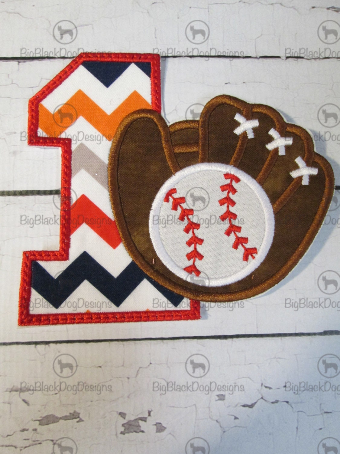 baseball glove birthday set iron on or sew on embroidered applique from bigblackdogdesigns on. Black Bedroom Furniture Sets. Home Design Ideas