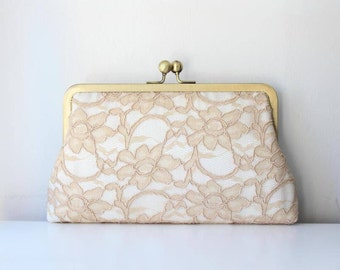 Lace Bridesmaid Clutch | Champagne Bridal Clutch | Bridesmaid Gift  | Wedding Clutch [Antoinette Clutch: Champagne on Ivory]