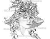 A Fairies Hat  - Fairy Tangles Printable Coloring Sheet for Adults by Norma J Burnell Coloring book Pages Fairies Grayscale Images to Color