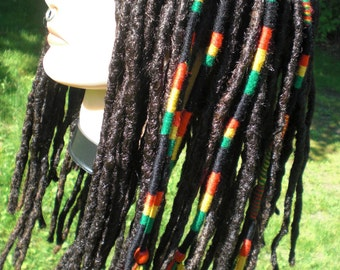 Ready To Ship Rasta Color Stripe Hair Wrap Extension Yarn Atebas Single SE Loop Braid In Beaded Rastafarian Dread Accessory Red Yellow Green