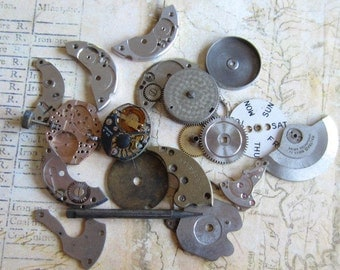 Vintage WATCH PARTS gears - Steampunk parts - y33 Listing is for all the watch parts seen in photos