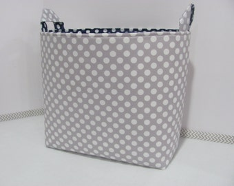 XL EXTRA LARGE Fabric Organizer Basket Storage Container Bag Bucket Toy Bin - Home Decor - Nursery - Kids Room - Grey and navy dots