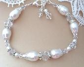 New Swarovski White Pearl/Crystal Vintage Bead Cap Rhinestone Rondelle Lobster Clasp Jewelry Bracelet