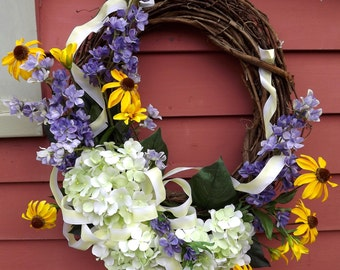 Silk Flower Grapevine Wreath Spring Blossoms Home Decor Front Door Wreath