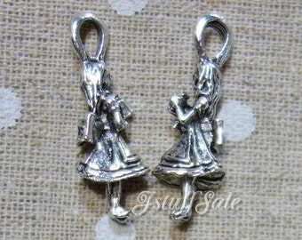5 pcs - Alice in Wonderland Alice 3D charms (holding a drink me bottle) Antique Silver