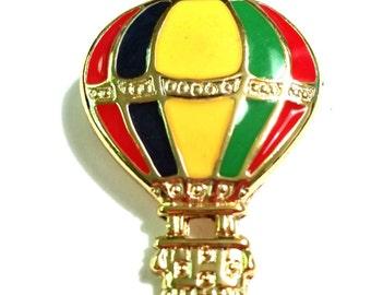 Vintage Hot Air Balloon Figural Enamel Pin Vintage Brooch