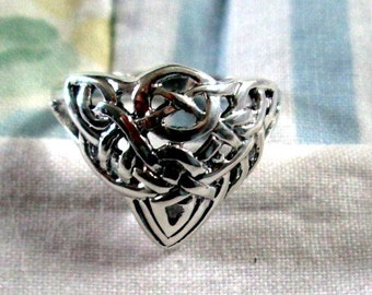 RING  - CELTIC - IRISH - Celtic Knots - Wide -    Sterling Silver    - 925 - Size 9- Misc260