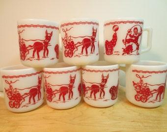 SALE 8 Vintage Hazel Atlas Milk Glass 8 oz cup donkeys Clowns circus Listing is for 8 MUGS