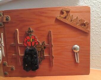 Vintage Wood Photo Scrapbook Album Snaps Cowboy Brady Western Fur Leather Western Oil Painted 201