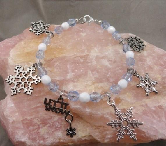 Let It Snow, White, Blue and Snowflake Charm Bracelet. Pretty Wintery bracelet, Christmas bracelet