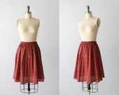 Vintage Plaid Skirt / Red Plaid Skirt / Pleated / Cotton / Elastic Waist / Westport