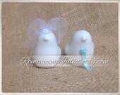 Petite Love Birds Cake Topper....You Choose the Veil and Necktie Colors..shown in white veil/aqua necktie
