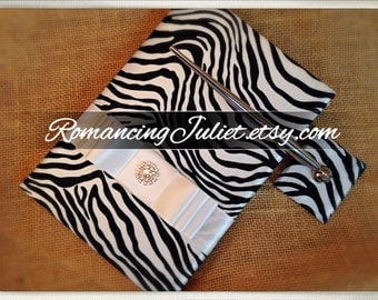 Classic Silky Satin Zebra Print Guestbook and Pen Set with Rhinestone Accent...You Choose the Accent Colors...shown in white