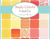 WINTER SALE - Simply Colorful - Bundle - Junior Jelly Rolls - Red, Orange and Yellow - by Vanessa Christenson of V and Co. for Moda Fabric