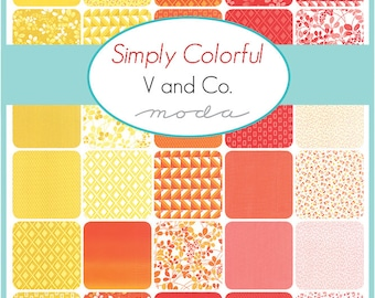 SPRING SALE - Simply Colorful - Junior Layer Cake Bundle - Red, Orange and Yellow - by Vanessa Christenson of V and Co. for Moda Fabric