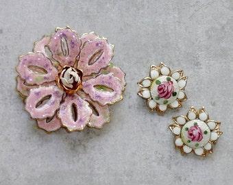 Vintage Brooch LOT - Pink Enamel Flower Brooch, 2 Guilloche Scatter Pins, Hand Painted Roses