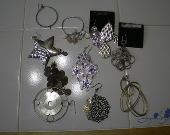 Destash  Lot of 12 Large Single Earrings for Crafts, Recycle, Reuse
