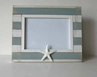 "Starfish Photo Frame, Whitewashed Plank wood, Beach Cottage Decor, 9"" x 10"", Wedding"