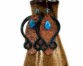 Hand Forged Mixed Metal Earrings, Tribal, Primitive Jewelry