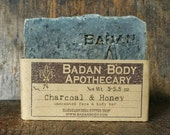 Badan Organic Activated Charcoal & Raw Honey Acne Soap for Face and Body, Enriched with Shea Butter
