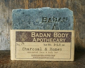 Activated Charcoal Soap, Bamboo  Charcoal & Honey Soap, All Natural Handmade Soap, Unscented Soap, Detox Soap, Shea Butter Soap