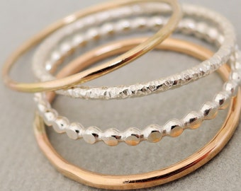 Set of 4 Thin Rings mixed metal 1 Rose Gold Ring, 1 Gold Ring and 2 Sterling Silver Rings skinny stacking rings