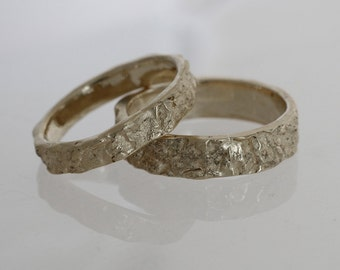 Modern silver wedding ring, Unique band set, women wedding band, Mens band from the Mediterranean Sea.
