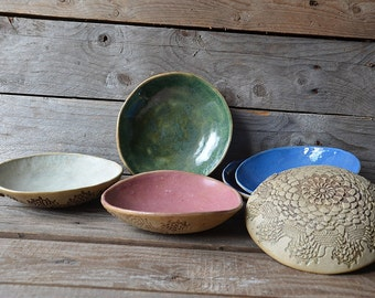 Set of six stoneware bowls in mixed colours - MADE TO ORDER - Stoneware (grès) Plate