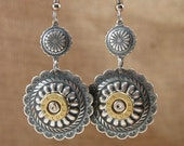 Bullet Jewelry - Southwest Style Round Concho with 9mm Bullet Casing Dangle Earrings - Western Styling, Chic Design
