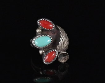 Ring, Size 5.25, Navajo, Sterling Silver, Red Coral, Turquoise, Three Stone Ring Signed MT