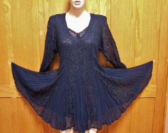 Sold 2 CHELSEA Lace Dress,  Blue Lace dress, Short lace dress, Long sleeve lace dress, 80s Lace dress, size L