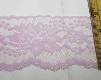 "Flat Lace 3"" inch Wide Lavender 4-20 yd Lace Trim Sewing Wedding Decor Gift Wrap Favor Ribbon Lingerie Floral Lilac Violet Embellishment"
