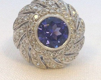 Vintage 1950s Tanzanite and Diamond Cocktail Ring