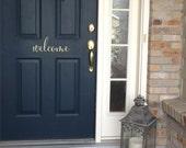 WELCOME  Door Decal - Vinyl Door Art - Housewarming Gift - Wedding Basket Gift - Vinyl Decal