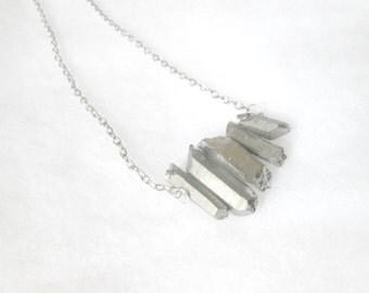 Silver Titanium Quartz Points Necklace