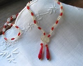 Vintage Mardi Gras Bead Sautoir/Necklace in Czech Glass Red, Clear and Brass Beads NOS