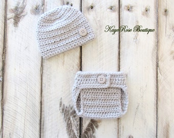 Newborn Baby Boy Hat and Diaper Cover Set Light Gray
