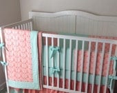 Crib Bedding Set Coral and Mint Damask with Blanket Made to Order