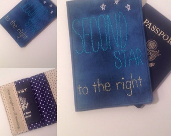 passport cover, Peter Pan inspired, Second Star to the Right, travel gift, hand embroidered