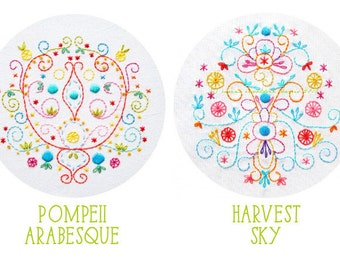 Embroidery Pattern Set: Harvest Sky and Pompeii Arabesque PDF