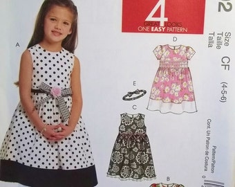 McCall's M5792 Girl's Sewing Pattern, Easy to Sew Dresses with Flared Skirt, Special Occasion Dress with Headband, Flower Girl's Size 4 - 6
