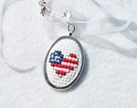 CLEARANCE Flag Pendant, Cross Stitch Pendant, Embroidered Necklace, Needlework Pendant - USA - Ready to Ship