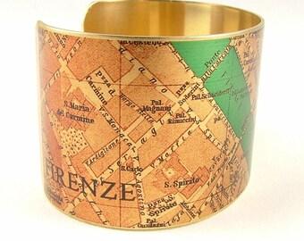 Vintage Florence Street Map Brass Cuff Bracelet - Italian Cartography Map Jewelry - Steampunk Style Cuff