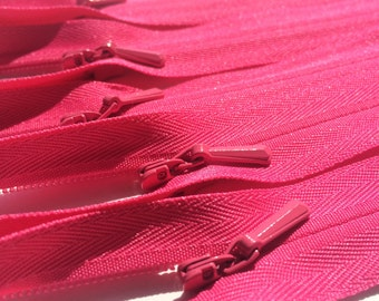 INVISIBLE Zippers- YKK Color 516 Hot Pink- 10 Pieces- Available in 14, 16, 18 and 22 Inches