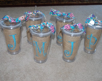 Acrylic tumbler with burlap insert and personalization